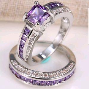 New 2.5ct purple Amethyst 925 Silver  Ring Set